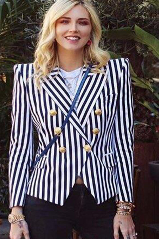 Jacket Metal Lion Head Buckle Classic Striped Suit