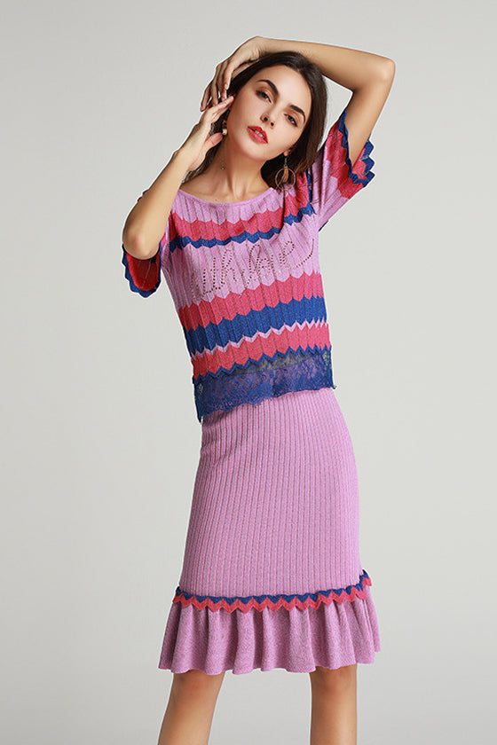 Two Pieces Lace Fashion Fishtail Dres Casual stripe Mid-length