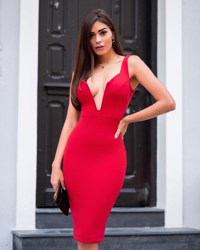 Sexy Deep V Celebrity Dress Red