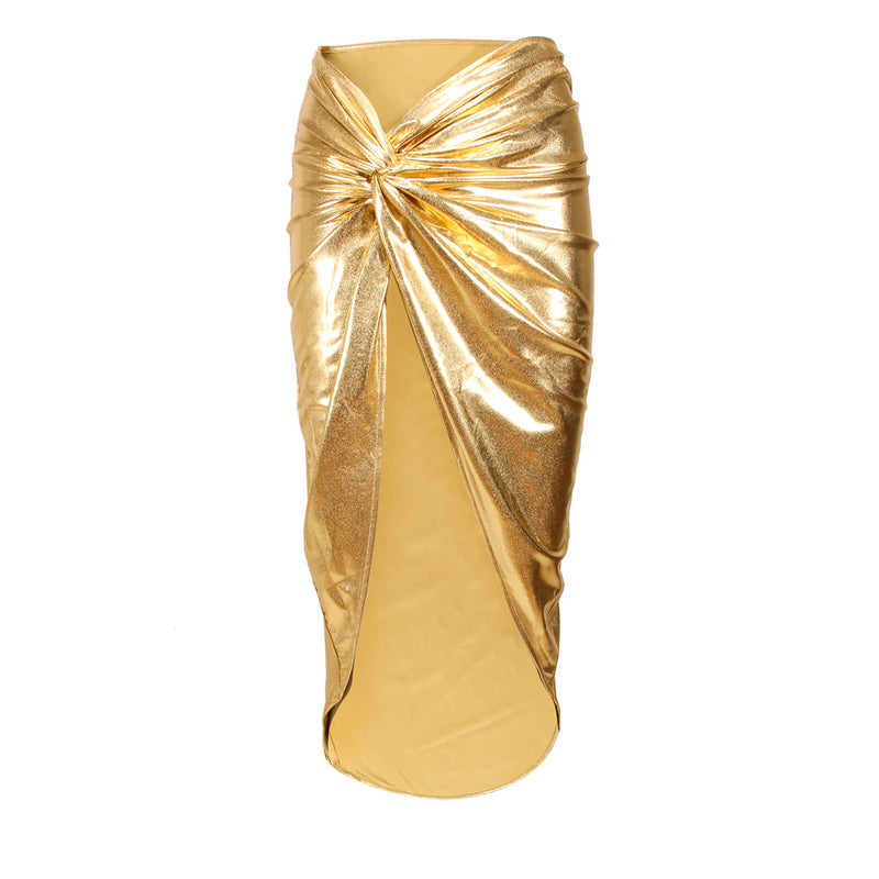 Two-piece gold Skirt Dress