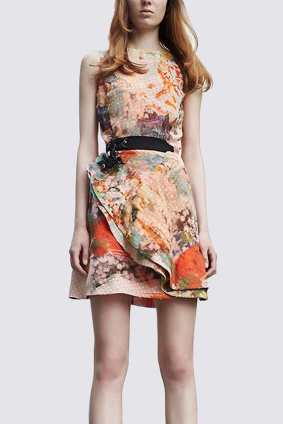 Classic Dress with Flower Printed