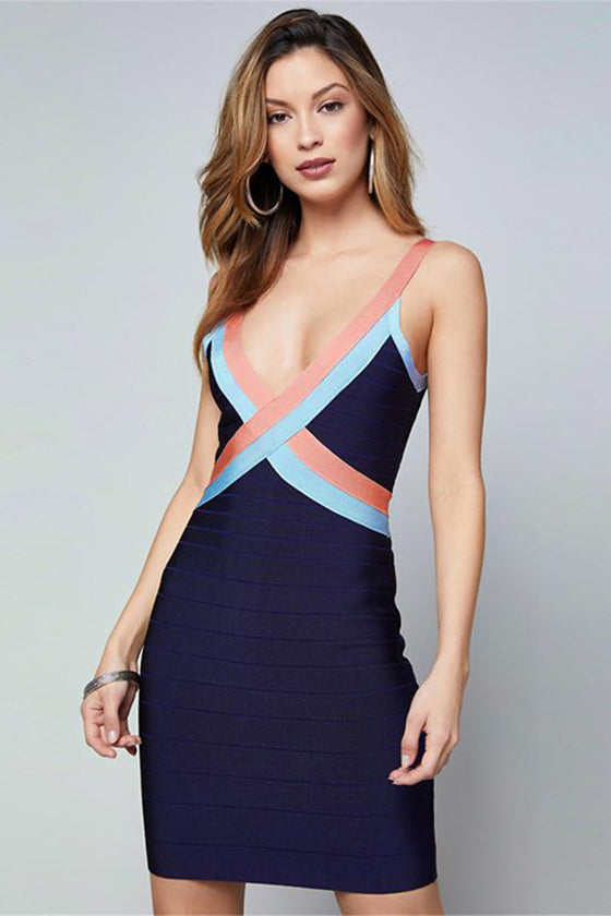 V neck Cross Straps Mini Dress