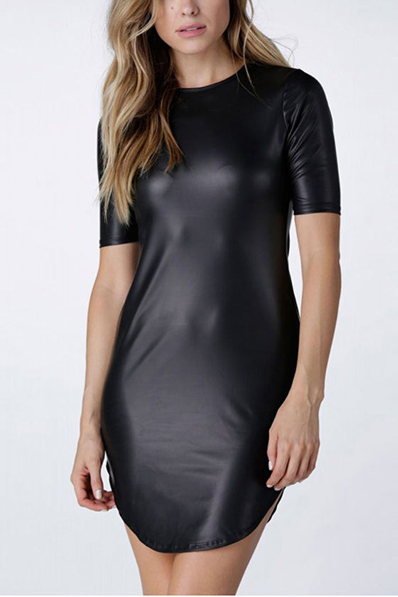 Short Sleeves Leather Dress Black