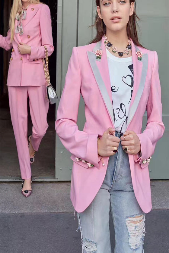 Print Lined With Pink Slim Jacket suit Women's 2019 late