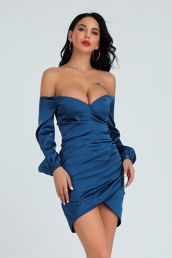 shopafashion Blue Black Sexy Puff Sleeve V-neck Irregular Dress
