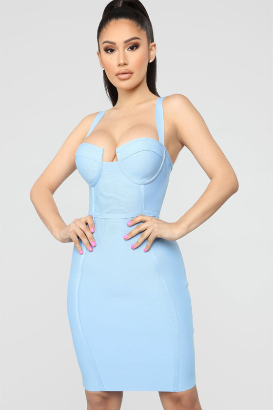 Sexy Backless Blue Pink Bandage Dress  2018 Designer