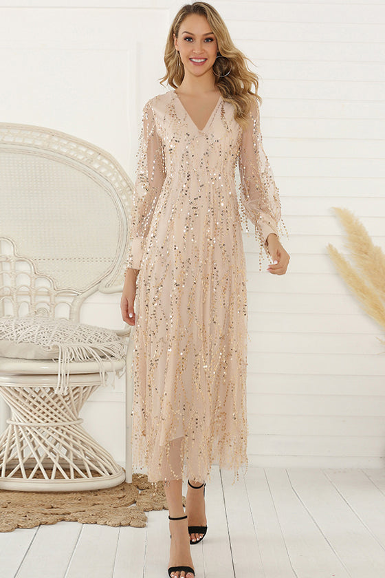 Long-sleeved Tassel Sequins Ladies Dress