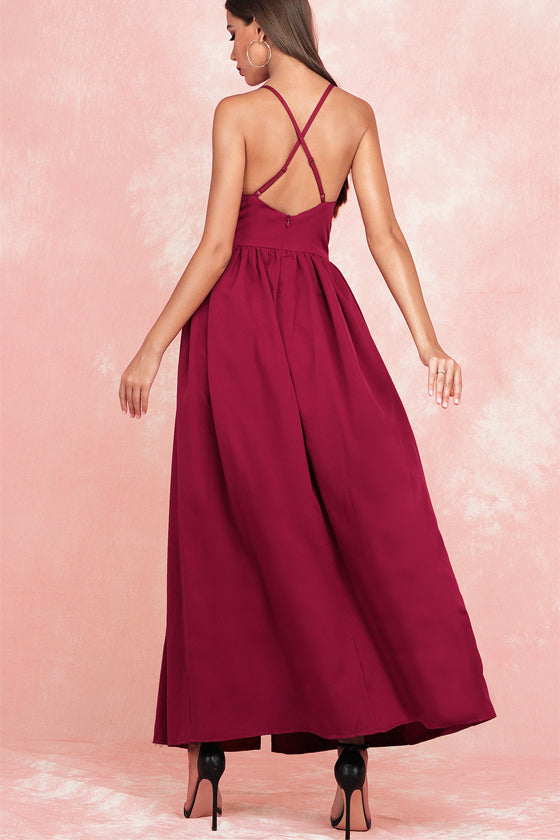 Sexy Backless Party Red Dress Beachwear
