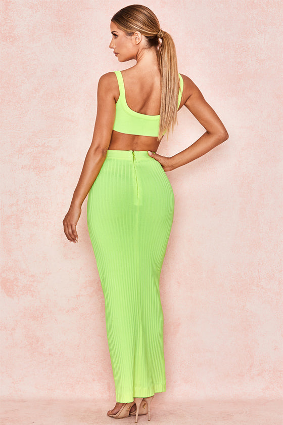 s 2019 Spring Women Sets Two Sexy  Bandage Suit Clubwear Party Solid Green