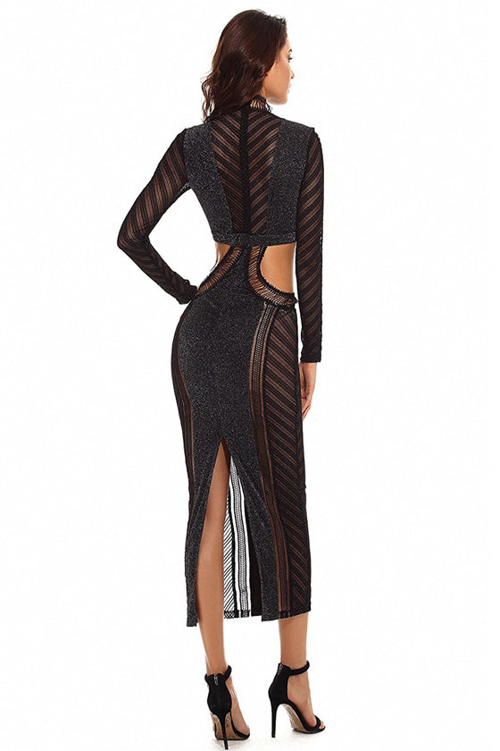 Party Black Pencil Bodycon Dress With Jacquard Contrast Mesh  dress
