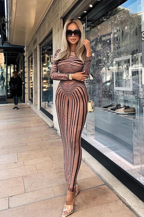 Long Sleeve Striped Slim Dress 2019 Newest