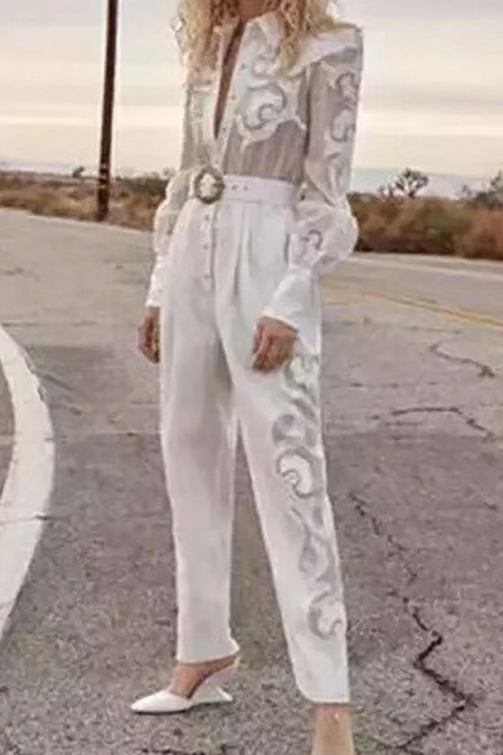 Summer women's new 2019 white  jumpsuit comfortable