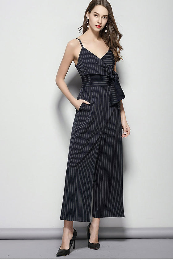 European and American brand women's 2019 spring and summer new v neck Jumpsuit