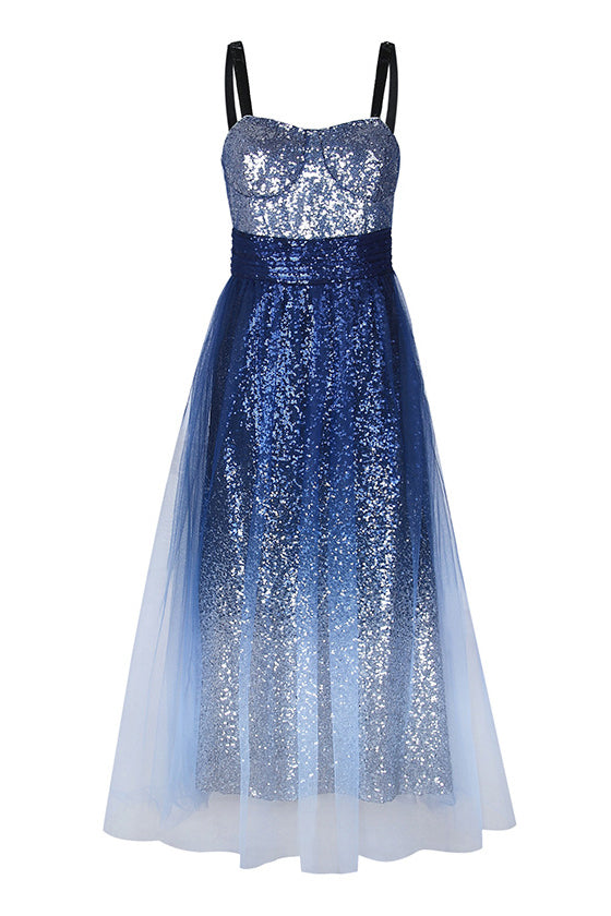 Sequined Sling Swing Meeting Party Dress