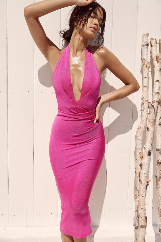 shopafashion Pink V-neck Backless Bandage Dress