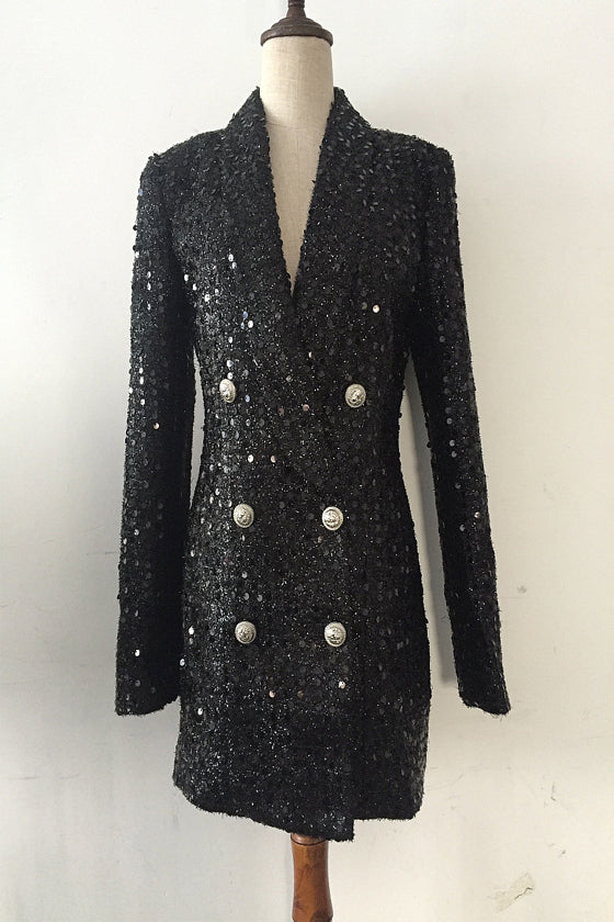 Women's Jacket Silk Shiny Beads Long Suit