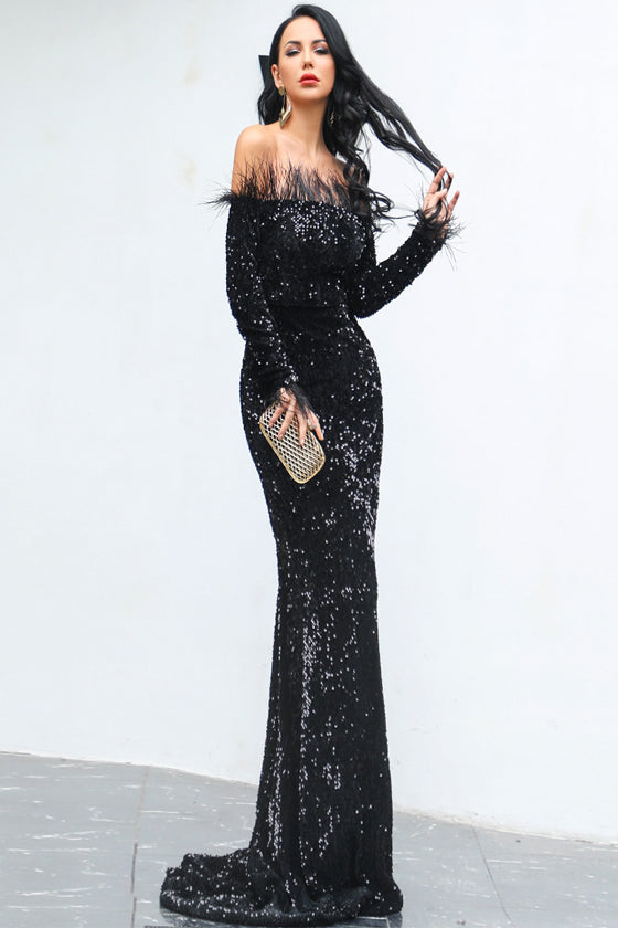 Long Sleeve Feather Sequins Mopping Party Dress pullover backless sequin