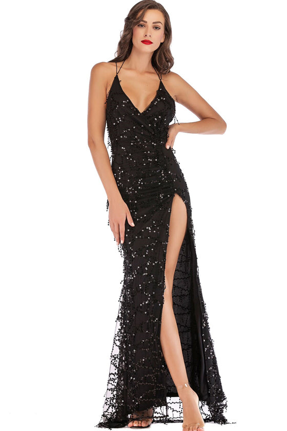 Twist Front High Slit Sequin Maxi Dress Sexy Club Wear