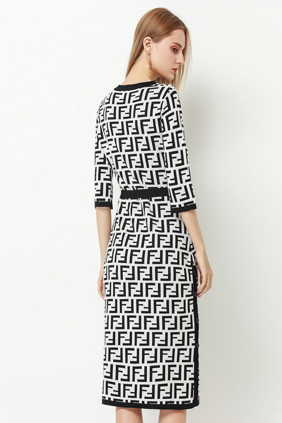 Split Letter Knit Geometry Dress