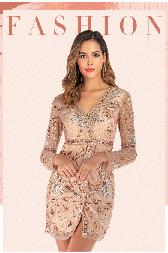 2019 New Fashion Sequins Dress Large size