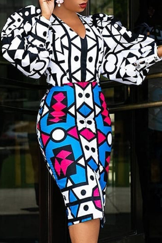 Jumpsuit + Printing High Waist Cloak Skirt Suit