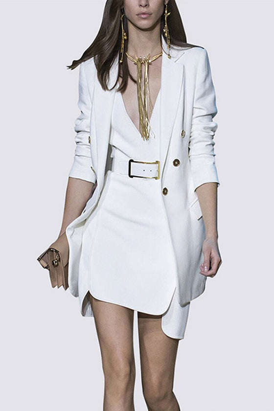 shopafashion White sleeveless Vest Temperament Jacket Two-piece