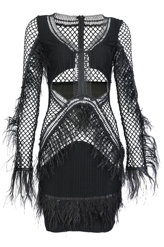 Sexy Black Fit Feathers Dress Party Dress Autumn/Winter