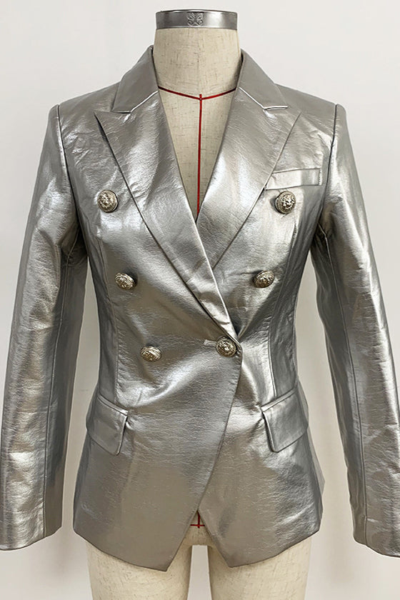 Shiny Silver Leather Slim Blazer High quality autumn