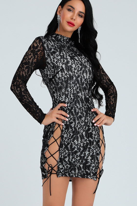 Black Two-Pieces Sets Party Club Dresses Lace Details
