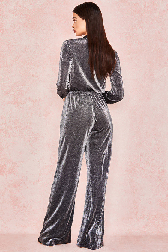 long  Sleeve deep V-Neck solid color Pocket lace-up Jumpsuits