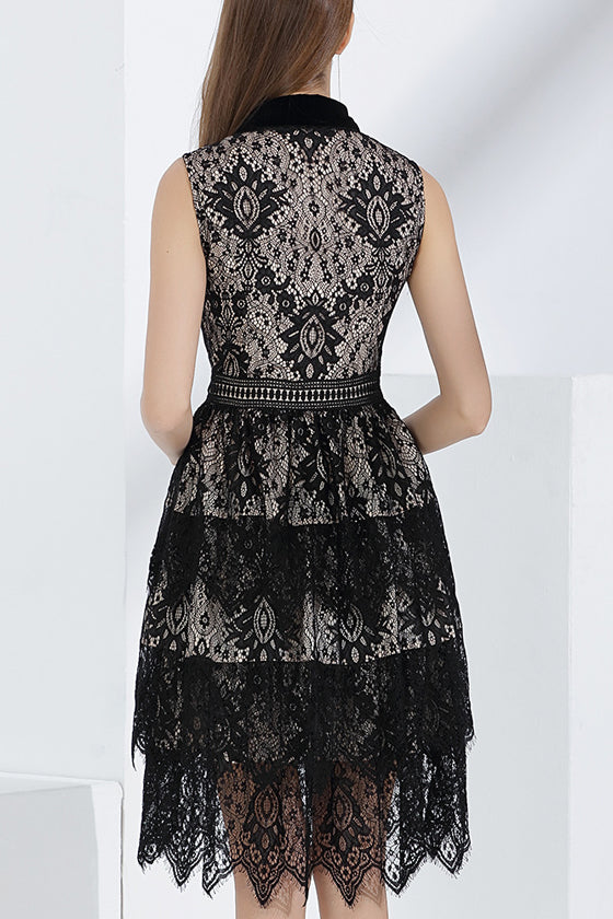 temperament lapel A-line Stitching zipper lace black dress