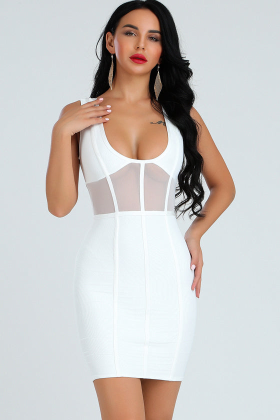 Jacquard Hem One Mesh Mixed Bandage Dress