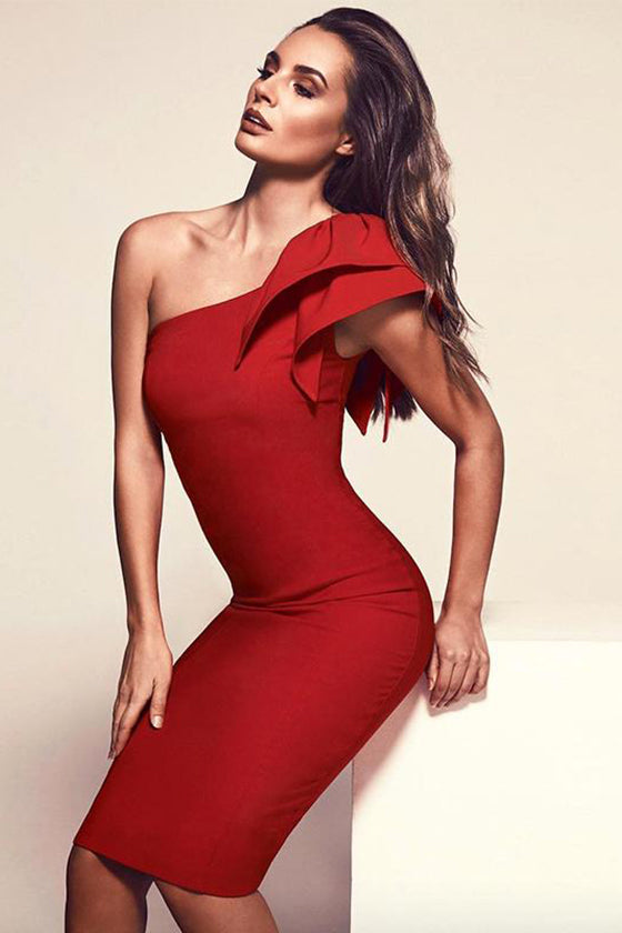 One Shoulder Ruffle Sleeves Bodycon Dress