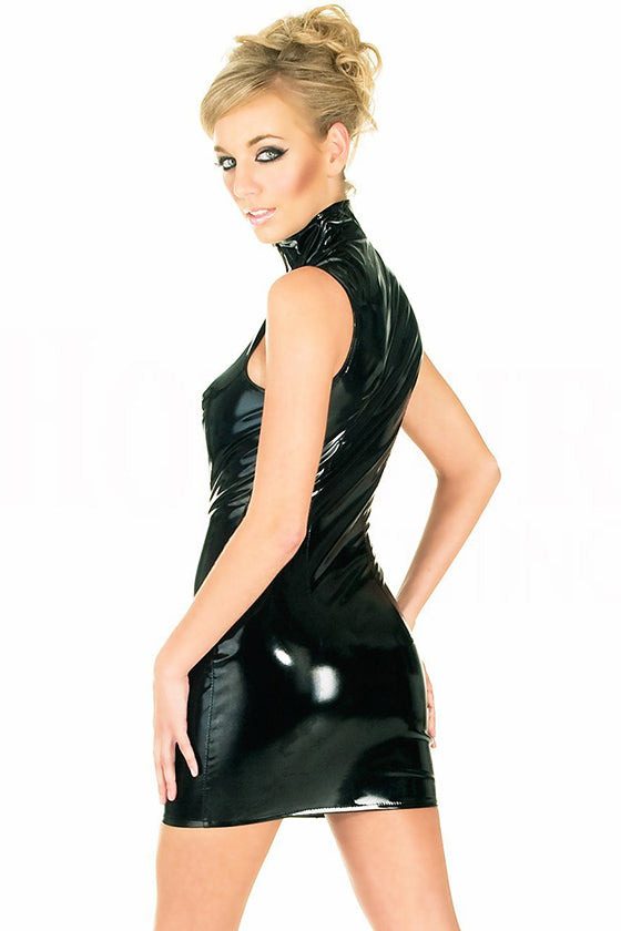 Black Shinning Leather Dress