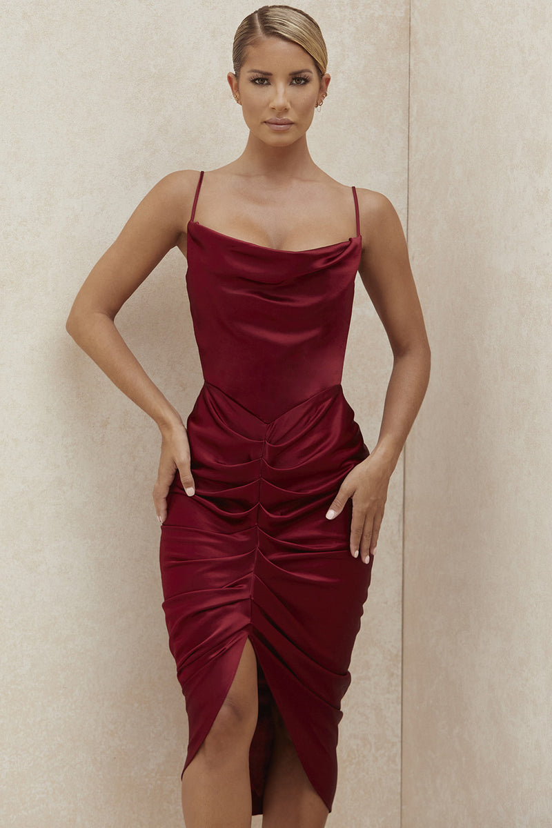 Women Red Satin Dress Sexy Split Ruched Spaghetti Straps Cowl Neck Backless Midi Dresses Summer Party Clothes 2020