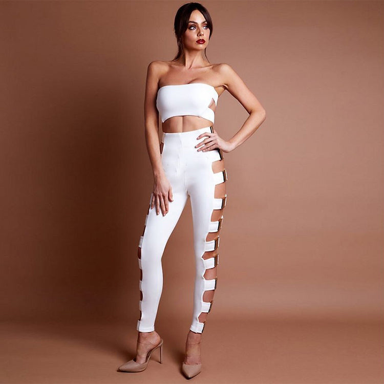 Strapless White Jumpsuit 2 Pieces