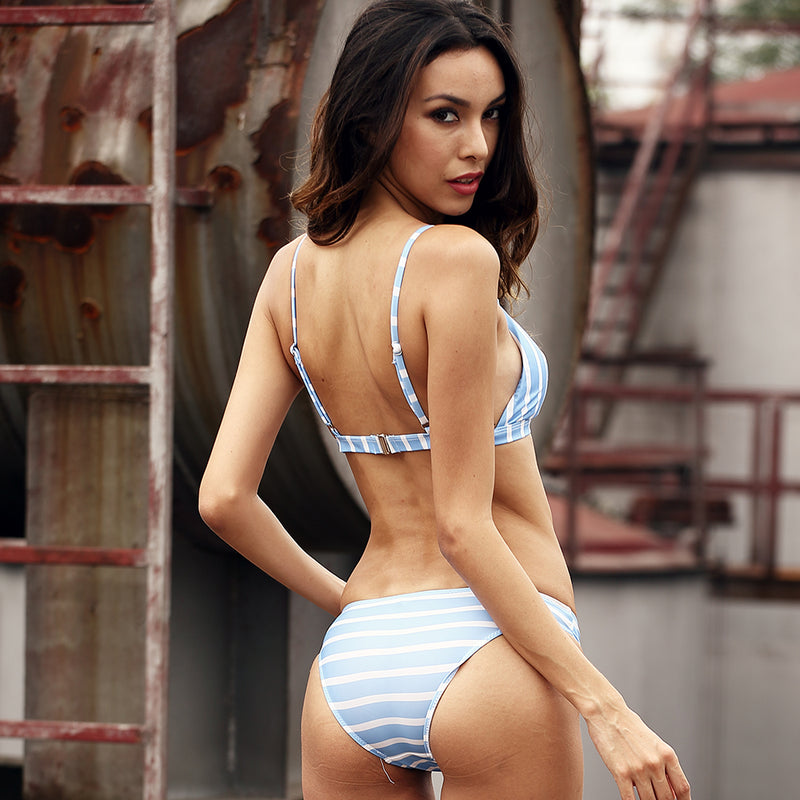 Blue Striped Sexy Bikini