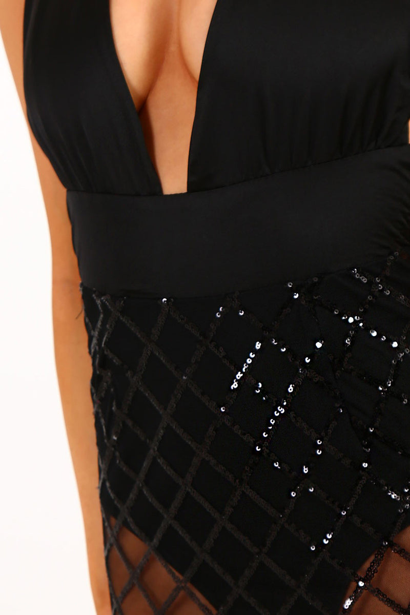 Sexy Deep V Dress Gridding Sequins