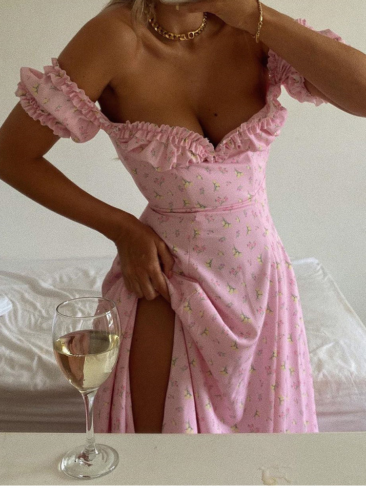 Pink Floral Midi Dress Women Sexy Off Shoulder Ruffles Long Dresses Summer Strapless Side Split Print Dress Beach Dress