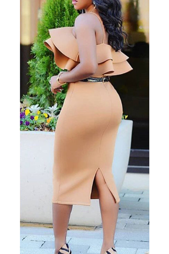backless zipper one-step skirt khaki sling knee-length dress