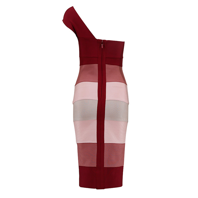 One Shoulder Multi-Color Bandage Dress Bodycon