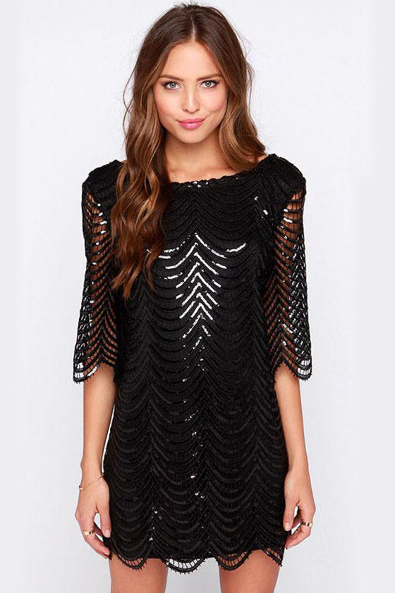 Black Mid-sleeves Sparkly Dress
