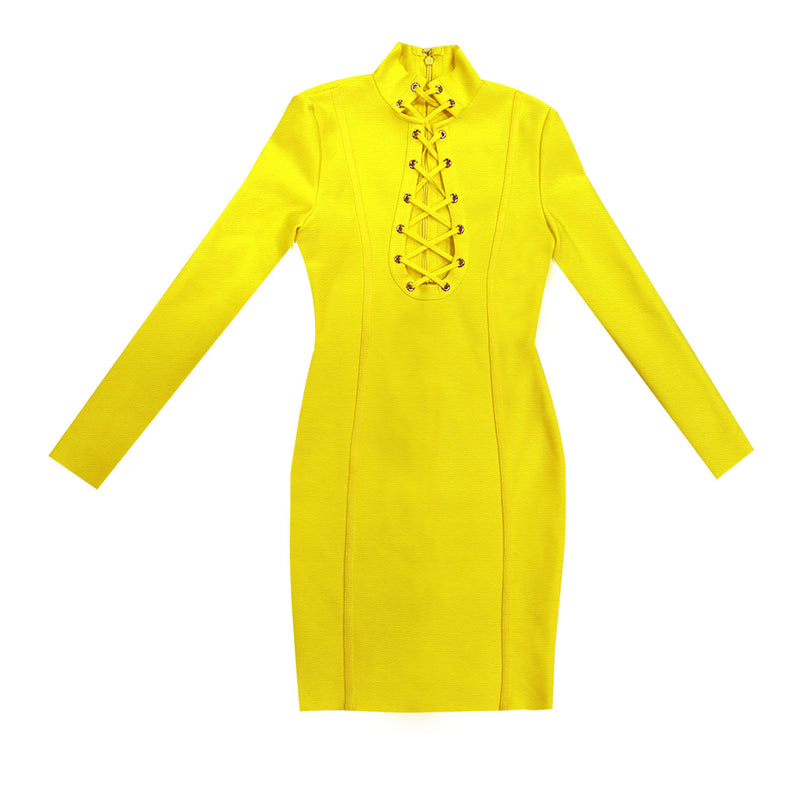 Long Sleeves Sexy Yellow Bandage Dress