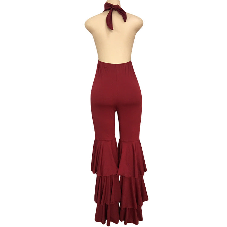 Red Jumpsuit Ruffle Legs
