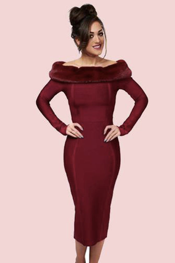 Wine fur trim long sleeves bandage party dress