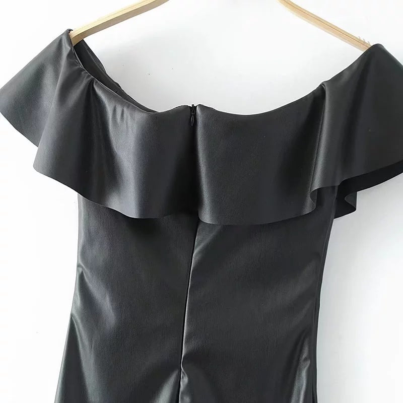 Off Shoulder Black Dress with Ruffles
