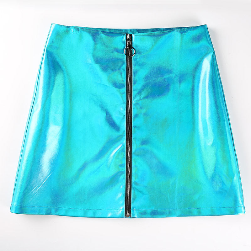 Shiny Fluorescent Mini Skirt Front Zipper