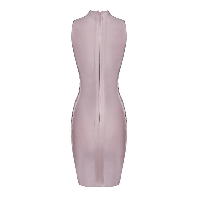 Pink Sexy Club Dress Sides Cut Out