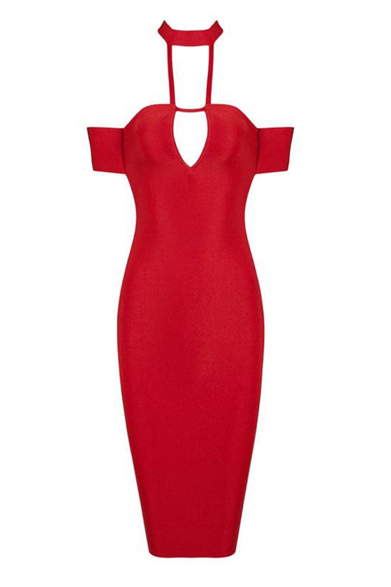 Halter Red Night Club Dress