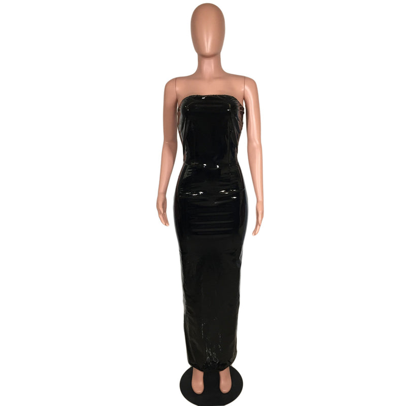 Kim Style Strapless Long Leathery Dress